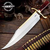 Gil Hibben Old West Bowie Knife - Bloodwood Edition - Stainless Steel Blade, Wooden Handle, Gold-Plated Guard, Leather Sheath - Length 20 1/2'