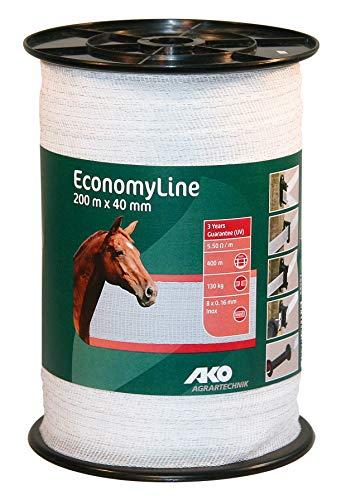 AKO EconomyLine Weidezaunband,40mm, weiß - 200m - ideal für Kurze Zäune und Portionsweiden
