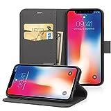 EasyAcc Hülle Case für iPhone XS/iPhone X, PU Kunstleder mit Tasche Handyhülle mit Standfunktion...
