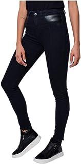Calça moscova jeans skinny recortes no bolso de couro black