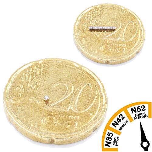 Brudazon | 100 mini schijfmagneten 1x1mm | N52 neodymium magneten ultrasterk | Power magneet voor modelbouw, trein, sieraden, microscoop | magnetische schijf extra sterk