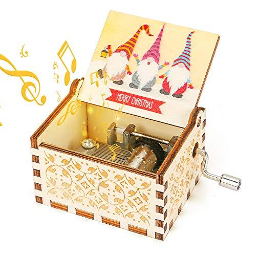 LINGSFIRE Vintage Holz Handkurbel Spieluhr, Gravierte Weihnachtsmann Spieluhr aus Holz für Freundinnen Tochter Mutter Liebe Basteln - Spielen Sie Frohe Weihnachtsmusik