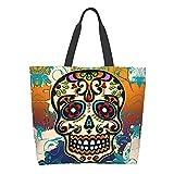 AuHomea Sugar Skull México Dia De Los Muertos Skull - Bolsa de lona para mujer, gran capacidad para mujer, bolso de hombro casual para viajes, compras, bolsas reutilizables