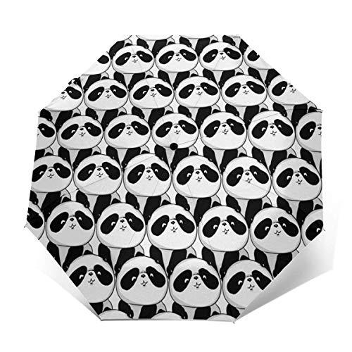 Automatischer dreifach gefalteter Regenschirm Schützen Sie Sonnenschutz Robuste winddichte leichte Regenschirme White And Black Panda