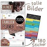Familienplaner 2020 – HUNDE | 5 Spalten | Wandkalender: 23x43cm | Familienkalender Extras: 180 praktische Sticker, Ferien 2020/21, Pollen-, Obst- & Gemüse-, Jahreskalender, Vorschau bis März 2021