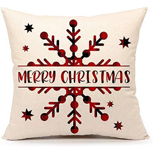 WEURIGEF Red Black Buffalo Check Weihnachten Schneeflocke Dekokissen Abdeckung Kissenbezug für Sofa Couch 45 * 45 cm Baumwolle Leinen