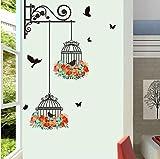 Pegatinas de pared jaula de pájaros flor volando sala de estar cuarto de niños calcomanía de pared pegatinas de pared decoración del hogar76 * 56 cm