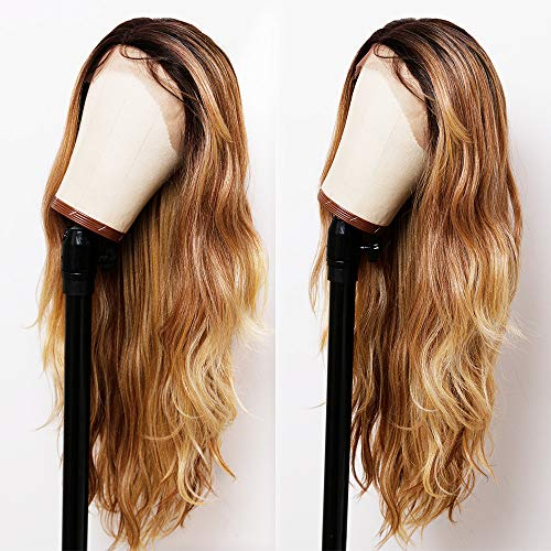 ANDRIA Lace Front Wigs Ombre Dirty Blond Glueless Natural Wave Synthetic Heat Resistant Fiber Hair Brown Mix Blonde Wig With Baby Hair For Black Women