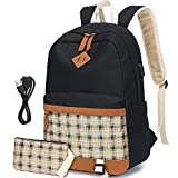 Canvas Backpack for Girls 2 in 1 Girls School Bookbag with USB Charging Port Casual Daily Backpack Fits 15.6 inch Laptop