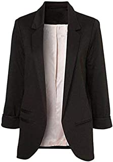 Women's 3/4 Sleeves Open Front Blazer Jacket Work Office Casual Blazer Suit with Pockets