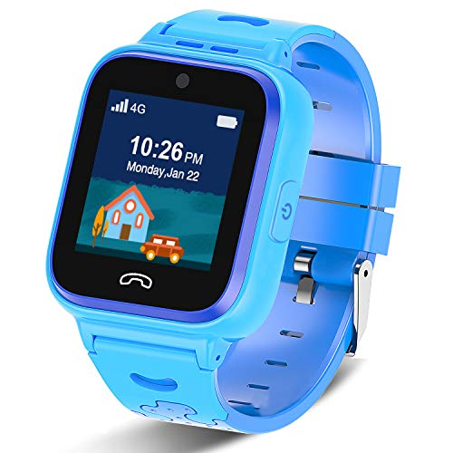 [2020 Updated]4G Kids Smartwatch with GPS Tracker, Touch Screen Boys Girls Watch Phone Waterproof with Remote Monitoring/SOS/Game/Pedometer/FaceTalk/2-way Call, Kids Christmas Birthday Gift Toys(Blue)
