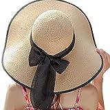 FRAUIT Sombrero de Paja Plegable para Hombre/Mujer Arco Grande Sombrero de Sol Sombrero de Playa Visera Protección UV Sombrero de Playa Elegante Sombrero de Verano para Vacaciones
