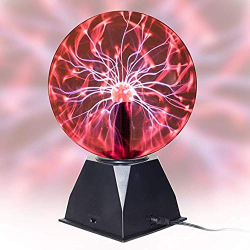 Zure 6-inch Plasma Ball Light Thunder Lightning, Plug-in - for Parties, Decorations, Prop, Kids, Bedroom, Home, and Gifts (Red Light)