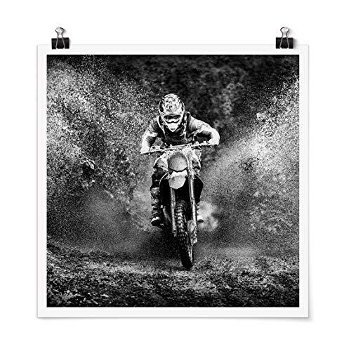 Bilderwelten Poster Imprimé Motocross in The Mud Carré Fini satiné Autocollant 30 x 30cm