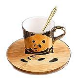 HRDZ Creativo Animale riflessione Tazza di caffè in Ceramica galvanica Specchio Tazza Piatto Tazza di tè pomeridiano Set Tazza da caffè
