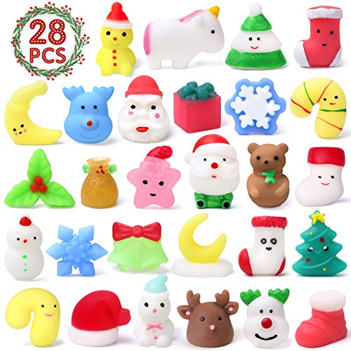 WITALENT Christmas Squishies Mochi Squishy Toys Christmas Party Favors for Kids Mini Kawaii Mochi Squishies Squeeze Stress Relief Toys for Adults 28 PCS Cute Animal Squichies Xmas Gift Idea for Kids