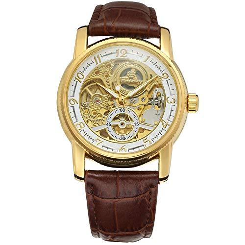 GJHBFUK Reloj de Hombre Correa De Cuero A Prueba De Agua PU, Reloj De Oro Mecánico Automático, Dial De Oro Blanco