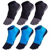 GINZIN Hombres Deportes Cinco calcetines del dedo del pie 6 pares,cinco calcetines de los dedos,calcetines de deporte,calcetines cinco dedos hombre (2#)