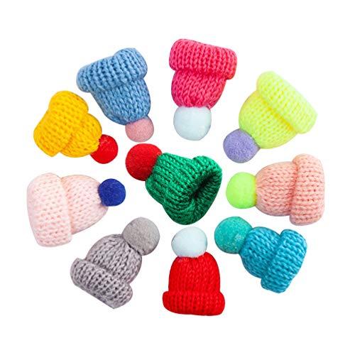 SUPVOX 10 piezas de navidad mini gorro de punto adornos para árboles de navidad accesorios para el cabello en miniatura diy manualidades muñeca linda sombrero joyería que hace color mezclado