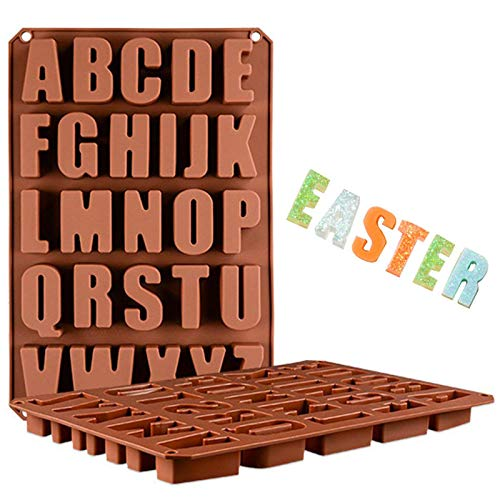 Wocuz 26 Cavities A-Z large letters reverse Alphabet Chocolate Silicone Cake Baking Mold Cake Pan Muffin Cups Handmade Soap Moulds Biscuit Ice Cube Tray DIY crayon Drops Mold for Easter Day