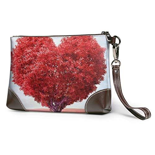 XCNGG Herzförmige rote Baum bedruckte Clutch Geldbörse Abnehmbare Leder Wristlet Brieftasche Frauen Handtaschen Geldtasche