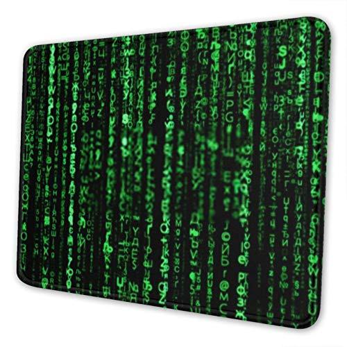 AEMAPE Matri X Green Code Secret Password Alfombrilla de ratón Alfombrilla de ratón para Juegos Base de Goma Antideslizante con Borde Cosido Alfombrilla de ratón para Ordenador para Oficina en casa
