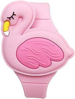ساعة تعلم للبنات الصغار من سن 2-8، 3D لطيف وردي فلامنغو كارتون شكل صدفي تصميم الأطفال ساعة رقمية LED للأطفال هدايا عيد ميل...