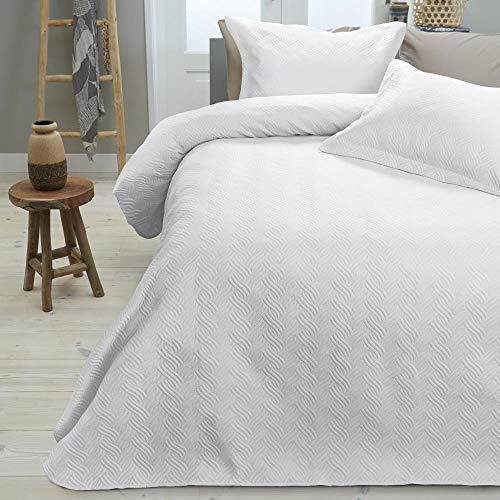 SLEEP TIME Tagesdecke Bettüberwurf Wave, 260cm x 250cm, Mit 2 Kissenbezüge 60cm x 70cm, Weiß