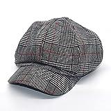 YFZCLYZAXET Boinas Sombreros Sombrero Mujer Boina Mujer Sombrero Octogonal Fino Sombrero De Pintor Británico-Gray_M (56-58Cm)