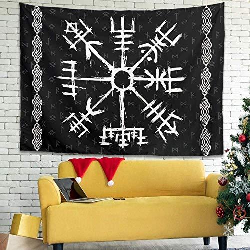 DUQQ Viking Runes Tapisserie Wandbehang Stoff Dekorative Stoff Tapisserie Tapisserie Wandteppich Wandkunst für Schlafzimmer Wohnzimmer Strandtuch Picknick Decke Weiß 200x150cm