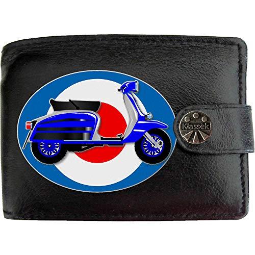 Scooter Moped Mods Roller 60s Mod Bild auf KLASSEK Marken Herren Geldbörse Portemonnaie Echtes Leder RFID Schutz mit Münzfach Zubehör Geschenk mit Metall Box