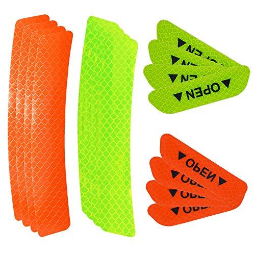 Senven Erweiterte Öffnen Sie die Tür Autotür Antikollisionswarnung Reflektierende Aufkleber, Universal Auto Rad Augenbraue Reflektierende Wasserdichte Aufkleber, Orange und fluoreszierendes Grün-16Pcs