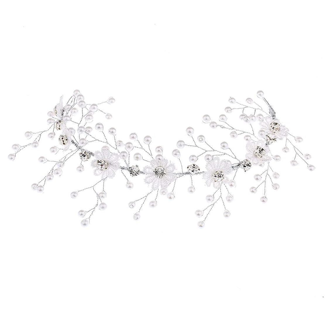 派手どんなときも静かな1ピーススタイリッシュなレースの結婚式のヘッドバンドシンプルなブライダルヘッドピースヘッドウェア結婚式の髪飾り用のヘアアクセサリー(ホワイト)