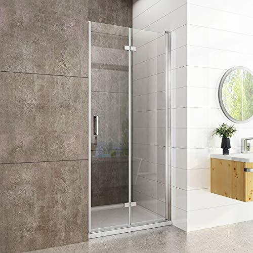 welmax Duschabtrennung Nische Duschkabine 90cm Rahmenlos Falttüren Duschtür Nischentür Dusche 6mm Nano Glas Höhe:195cm