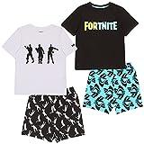 Fortnite Logo & Emotes Boys Short Pyjamas Twin Pack Multicoloured Juego de Pijama, 13-14 Years para Niños