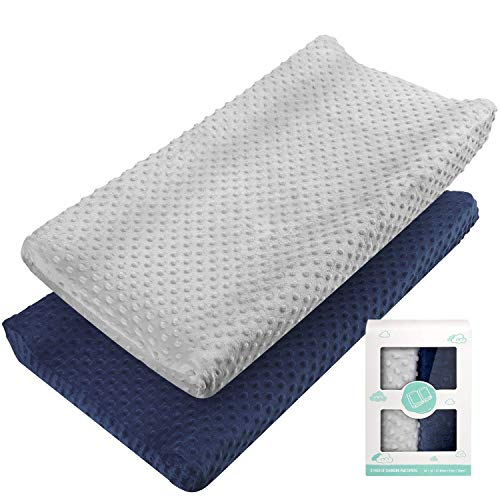 Changing Pad Cover - Babebay Ultra Soft Minky Dots Plush Changing...