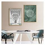 OKOEEE Cotizaciones de la Puerta de la Arquitectura islámica Alhambra Hassan Mosque Mano Lienzo de lámina Arte de la Pared Pintura Moderna decoración del hogar 20x28x2 Inch Sin Marco