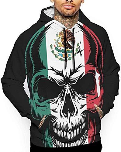 Wwoman Skull Flag of Mexico Sweatshirt mit Kapuze für Herren Sweatshirt Jacke Mantel Mantel, Mehrfarbig L