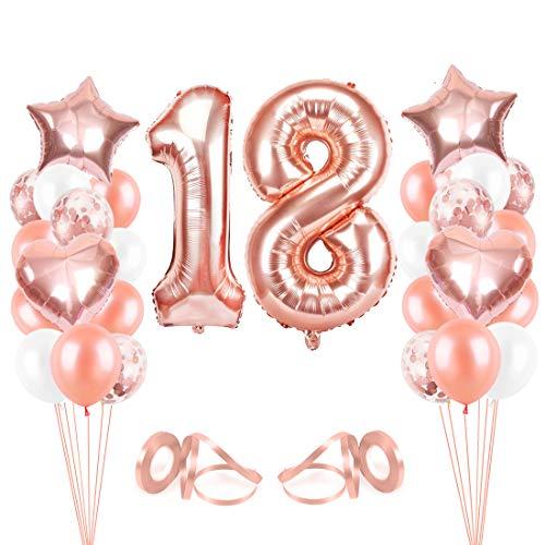 Bluelves Luftballon 18. Geburtstag Rosegold, Geburtstagsdeko Mädchen 18 Jahr, Happy Birthday Folienballon, Deko 18 Geburtstag Mädchen, Riesen Folienballon Zahl 18, Ballon 18 Deko zum Geburtstag
