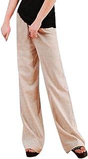 d53e61e485d iYYVV Women Linen High Waist Long Straight Solid Color Plus Size Wide Leg Yoga  Pants