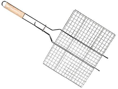 COOK & GRILL 3660495491379 Grille BBQ rectangulaire-Manche en Bois (68362cm env.), Gris, 30x25x10 cm