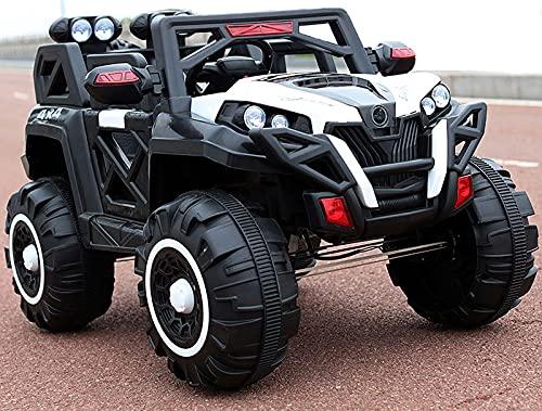 QQ HAO Vehículo de Cuatro Ruedas controlado a Distancia, el Coche eléctrico para niños supergrande, Funciones múltiples, Control por Bluetooth,Blanco
