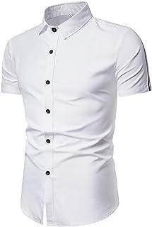Abeaicoc Mens Simple Button Slim Short Casual Down Sleeve Solid Dress Shirts