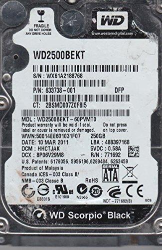 WD2500BEKT-60PVMT0, DCM HHCTJAK, Western Digital 250GB SATA 2.5 Festplatte