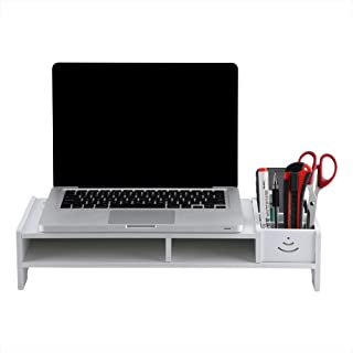 Computer Monitor Stand, White Wooden Save Space Computer Monitor Riser Laptop PC Stand Home Office Desktop Table Storage O...