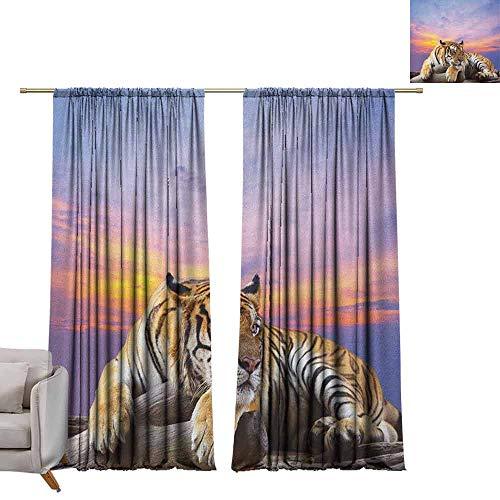 Waterdicht venster gordijn verduisteringsgordijnen voor slaapkamer Safari, Silhouet van Rhinos olifanten Zebras grasland en een boom met de zon oranje chocolade zwart