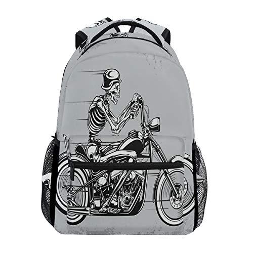 Eslifey Skelett Reiten Motorrad Skull Rucksack Studenten Schultertaschen Reisetasche College Schulrucksäcke