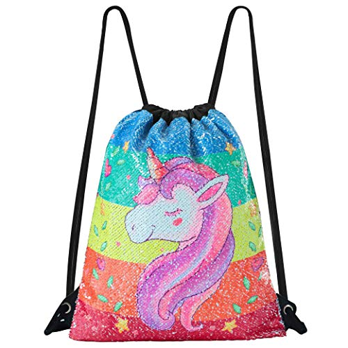 Sirena Bolsa de Lentejuelas Magic Reversible Mochila Brillante Bolsa de Danza para Niñas Mujeres Niños 33×42cm