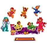 Little Folk Visuals Five Monkeys Jumping on The Bed Precut Flannel/Felt Board Figures, 9 Pieces Set