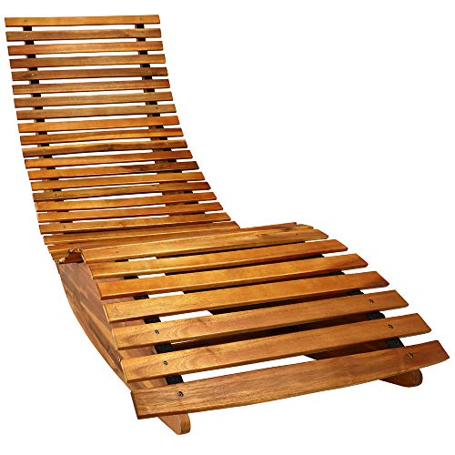 cucunu Chaise Lounge Outdoor in Weatherproof Acacia Wood for Patio, Pool or Spa I Rocking Sun Lounger Chair for Sunbathing I Patio Lounge Chair